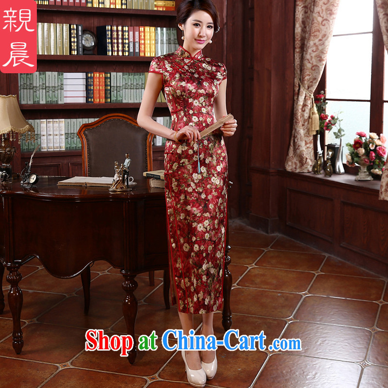 pro-am, new 2015 summer long stylish improved upscale silk retro heavy sauna Silk Cheongsam dress red M - waist 74 CM