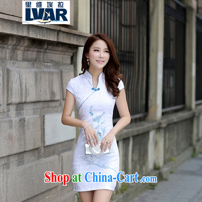 Riviera, for the hard disk for Korea wind embroidery cheongsam improved national retro cotton sleeveless short cheongsam tea light blue XL