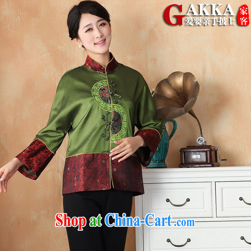 Gakka Spring and Autumn 2015, mom with Ethnic Wind female Chinese improved Chinese female long-sleeved loose the code cheongsam shirt green XXXL