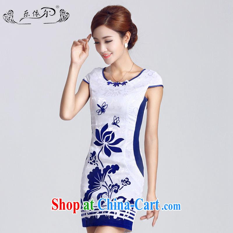 Music in spring 2015 new female qipao improved lady short cheongsam dress elegant classic daily LYE 33,302 white XXL