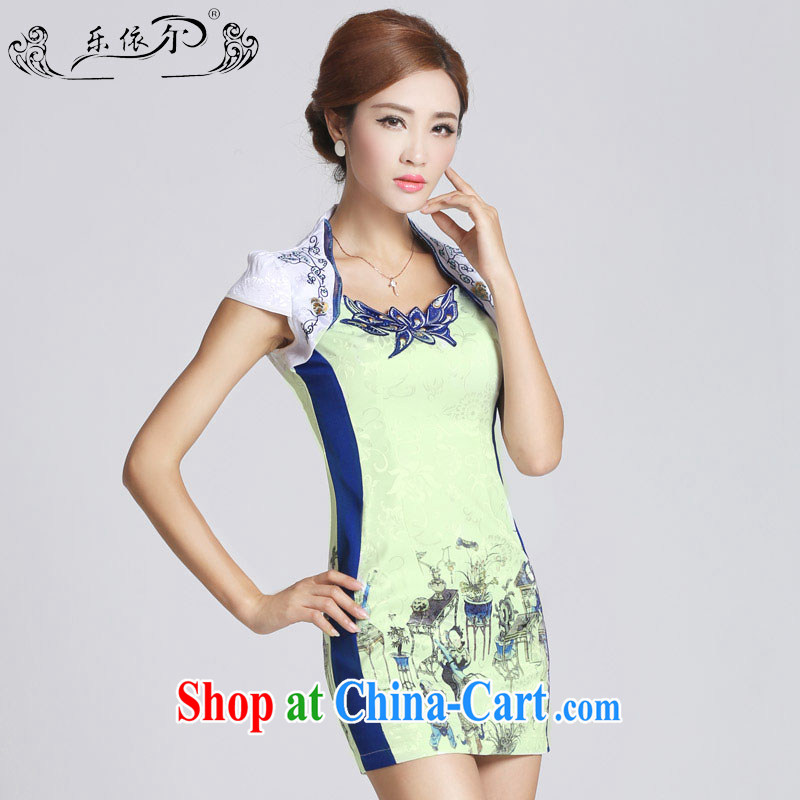 And, in accordance with national wind girl cheongsam classical embroidery flower lady short qipao refined beauty spring 2015 new LYE 66,601 white M