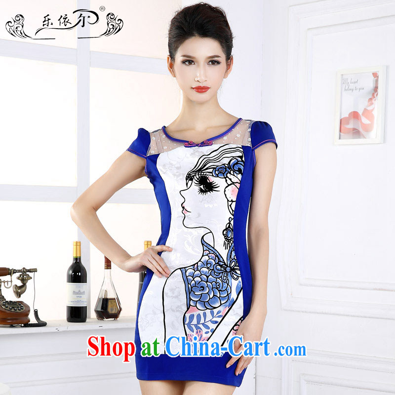 And, in accordance with 2015 new dresses beauty graphics thin daily short-sleeved girl cheongsam dress improved retro set drill spring LYE 66,602 blue XXL