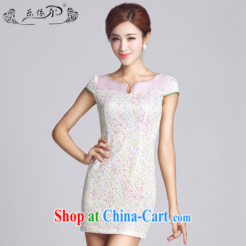 And, in accordance with spring loaded new cheongsam lace-patterned improved short, female cheongsam dress everyday ladies LYE 2015 66,605 white XXL