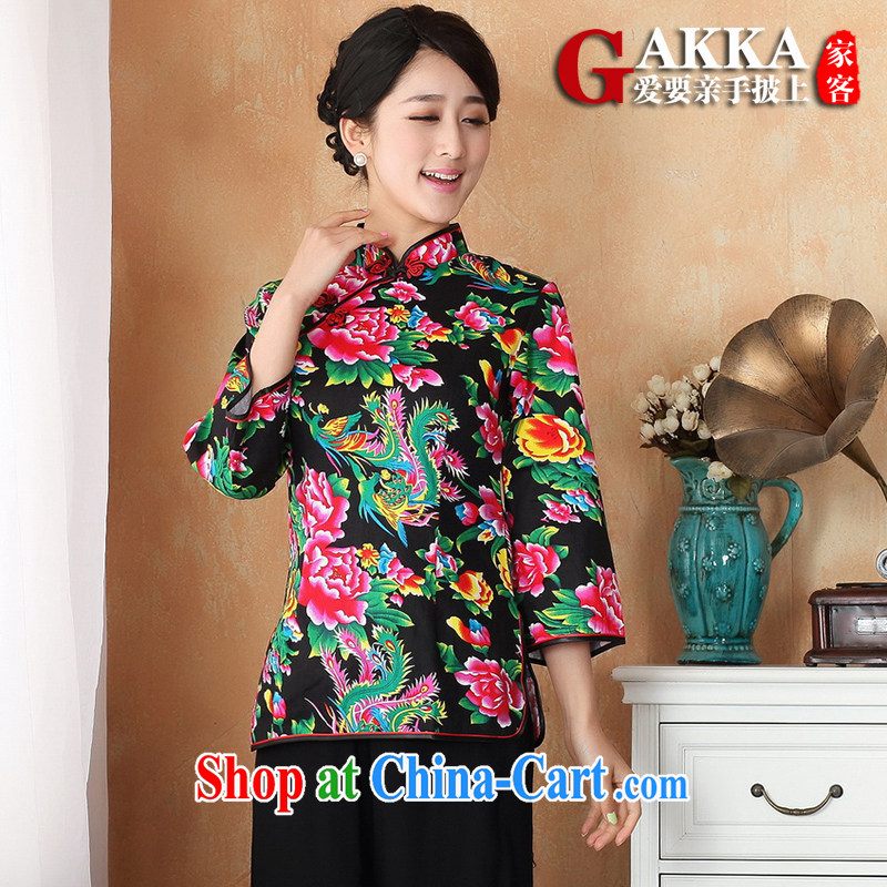Gakka 2015 spring and summer Chinese improved Chinese female Han-retro T-shirt cotton floral new cultivating long-sleeved Chinese wind female black XXL