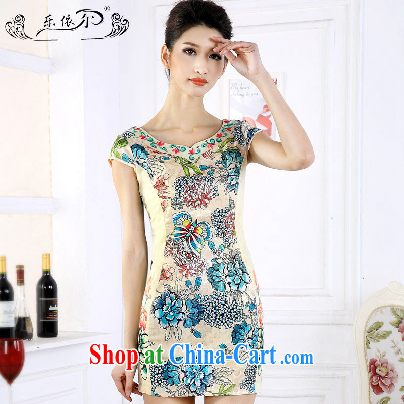 And in spring 2015 the new short cheongsam dress girls retro stamp improved embroidery flower girl dresses daily LYE 66,610 green XXL