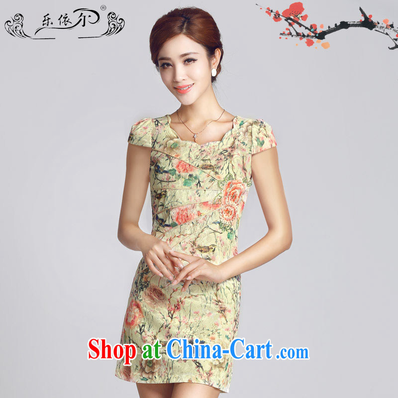 America in 2015 new improved lady dresses retro embroidery take short cheongsam dress daily video thin package and LYE 66,621 pink XXL