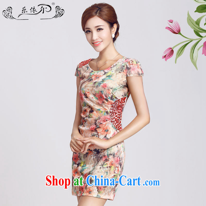 And, in accordance with spring loaded short-sleeved improved retro dresses dresses beauty package and daily lady short cheongsam LYE 66,622 red XXL