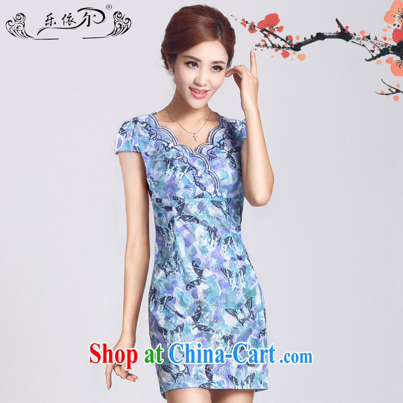 And, in accordance with short-sleeved dresses female short cheongsam dress 2015 spring new daily improved cheongsam lady retro LYE 66,625 blue XL