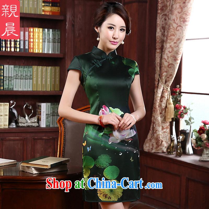 pro-am New 2015 daily improved stylish short beauty retro upscale silk sauna Silk Cheongsam dress green XL - waist 77 CM