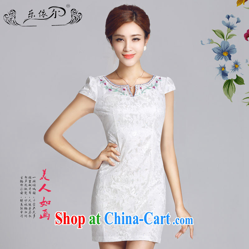And, in accordance with antique improved lady dresses spring 2015 new embroidery flower cheongsam dress daily cultivating short cheongsam LYE 66,626 white XXL