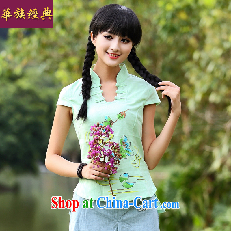 China classic 2015 spring and summer new female 100 ground small fresh College wind linen Chinese classic short-sleeve T-shirt green XXL