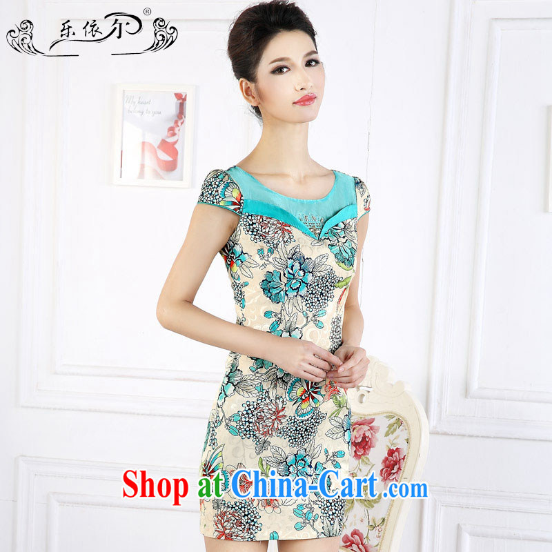 And, in accordance with antique Ethnic Wind stamp duty short cheongsam 2015 spring new short-sleeved improved female cheongsam dress the drill LYE 66,627 green XXL