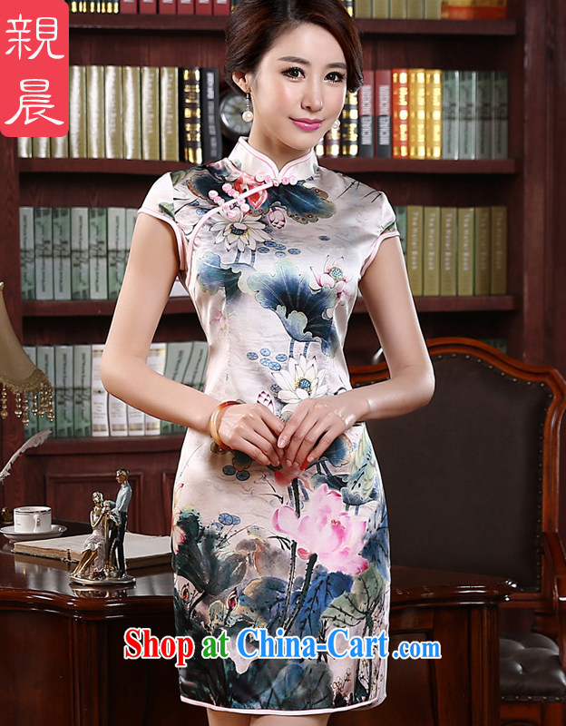 pro-am 2015 new summer fashion short improved retro upscale silk heavy sauna Silk Cheongsam dress picture color 2 XL - waist 82 CM