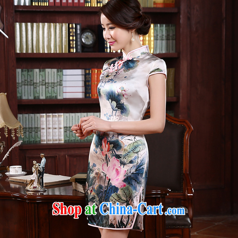 pro-am 2015 new summer fashion short, improved retro upscale silk heavy sauna Silk Cheongsam dress picture color 2 XL - waist 82cm, and the pro-am, shopping on the Internet