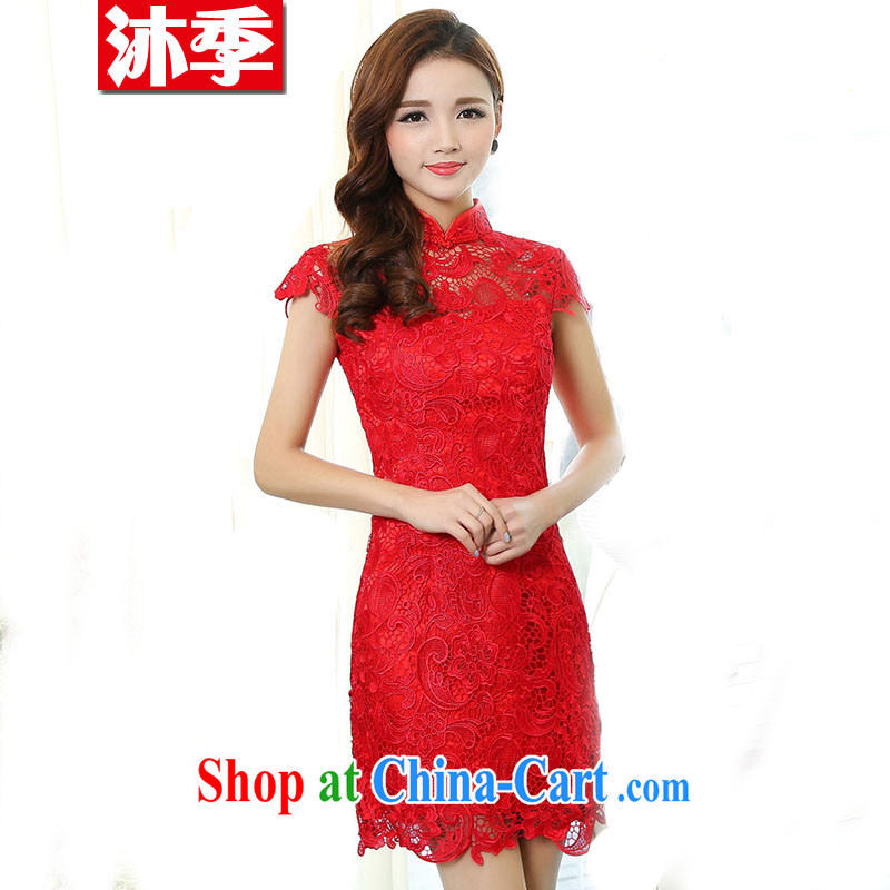 Mu season 2015 New Red lace bridal wedding dresses toast serving modern improved cheongsam crowsfoot toast wedding long gown beauty 1502 XXXL
