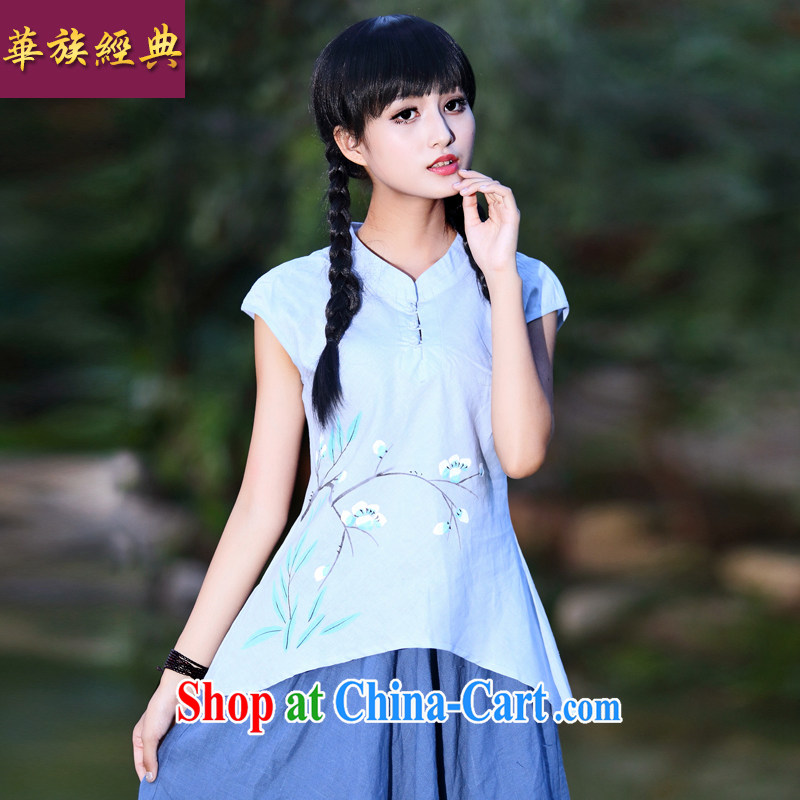 China classic summer short-sleeved Chinese linen casual simplicity and Chinese Ethnic Arts, short-sleeved hand-painted T-shirt girl Lake blue XXL