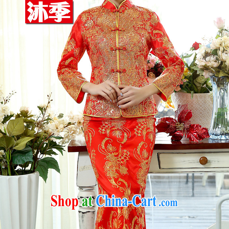 Mu season 2015 spring loaded Tang cheongsam Long Red Beauty embroidered marriages served toast wedding dresses back door female Red 1508 XXXL