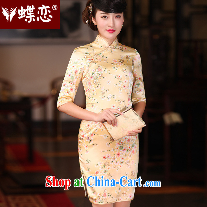 Butterfly Lovers 2015 spring new stylish improvement sauna beauty silk Silk Cheongsam dress 48,016 Sakura D. - pre-sale 15 days M