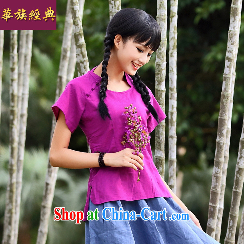 Chinese ethnic classic 2015 original female short-sleeved new relaxed summer fresh beauty T-shirt literary Chinese, served by red L