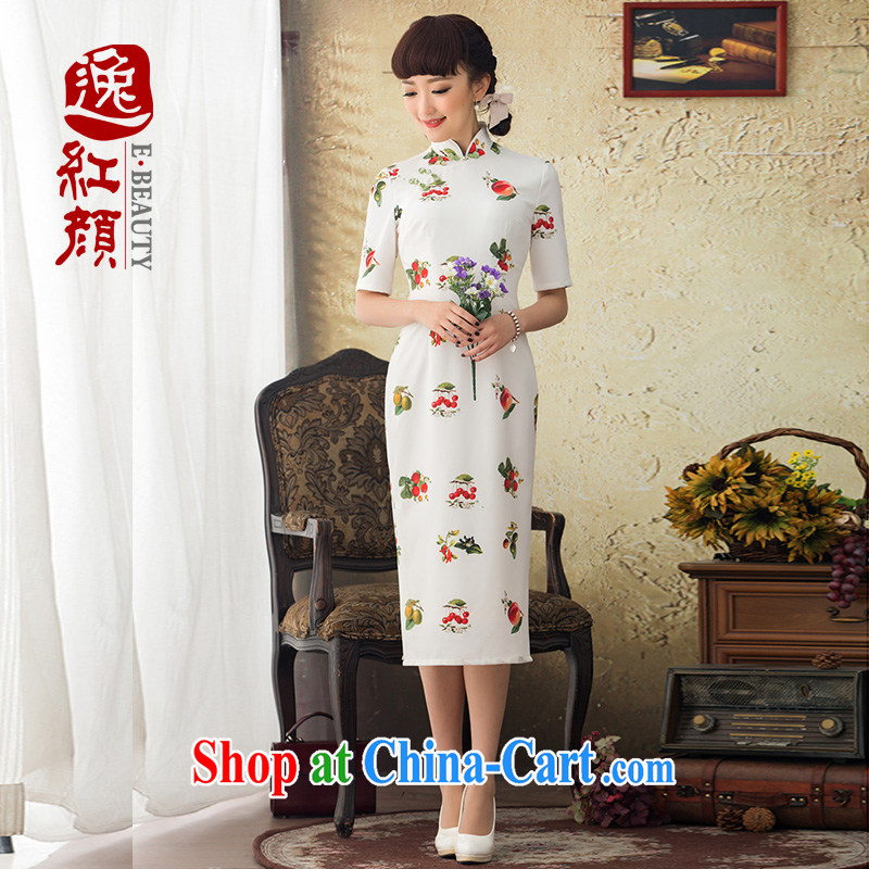 once and for all the proverbial hero Mobile Phone 2015 spring and summer New Long improved cheongsam dress stylish stamp cheongsam dress retro white XL