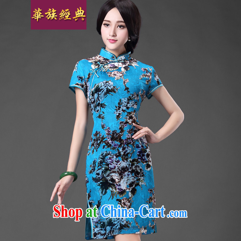 China classic * BLUE Mr NGAN Kam-chuen . . retro improved mother dresses stylish elegant beauty graphics thin dresses blue XXL