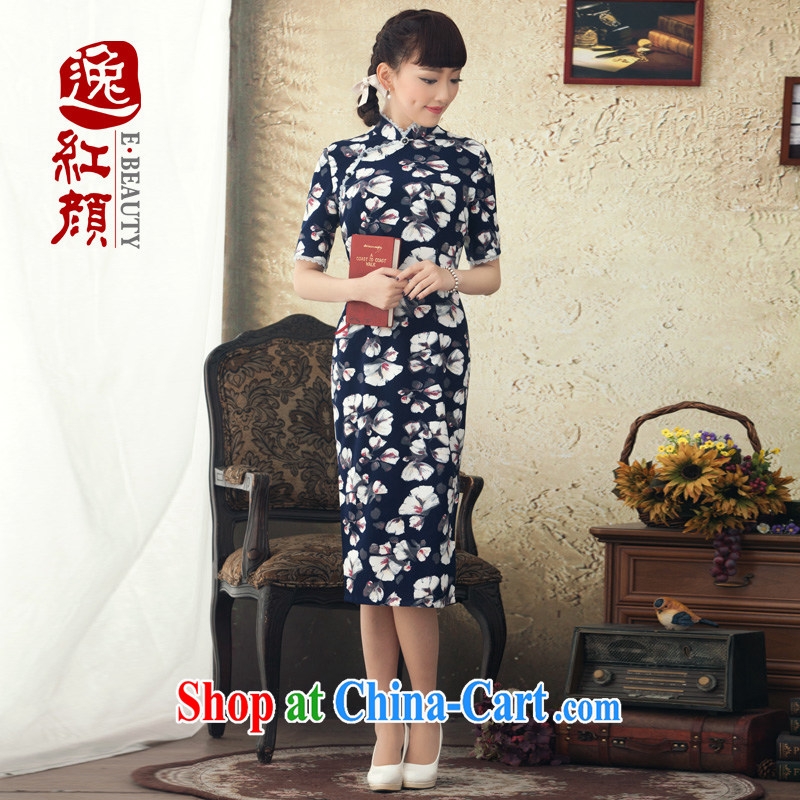 once and for all and fatally jealous of fishermen in stamp duty cuff long cheongsam improved 2015 spring and summer new stylish cheongsam dress retro blue 2 XL