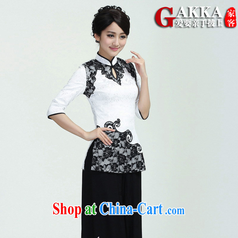 Gakka 2015 spring and summer with new stylish stitching stamp cultivating Chinese 7 cuff improved cheongsam Chinese female in her sleeves T-shirt with white XL