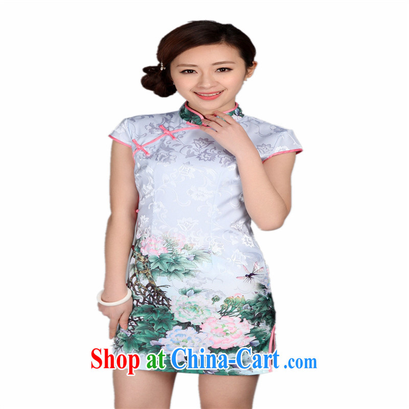 Wholesale new, improved day-short, Retro cheongsam dress jacquard cotton stamp beauty and elegant low-power's THM XXL 0009