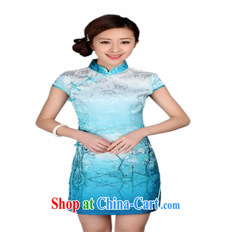 Wholesale new, improved day-short, Retro cheongsam dress jacquard cotton stamp beauty and elegant low-power's THM XXL 0008