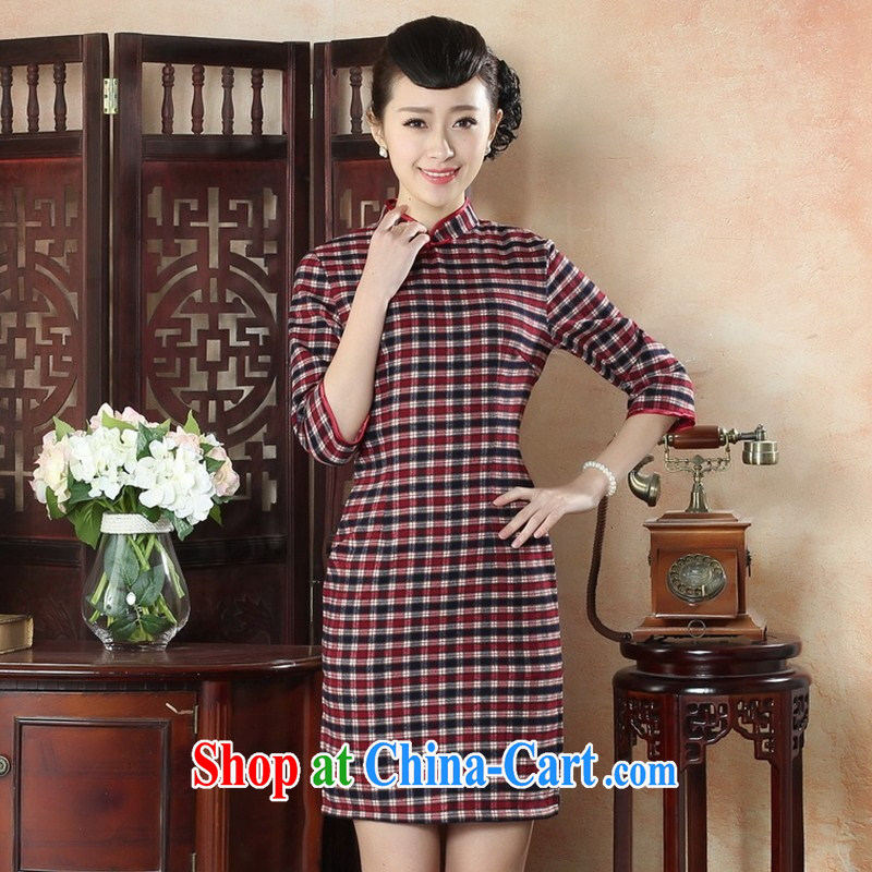 New winter improved dresses beauty and stylish cotton the cheongsam dress retro elegance of Korea tartan dresses GZZX XXL 0006