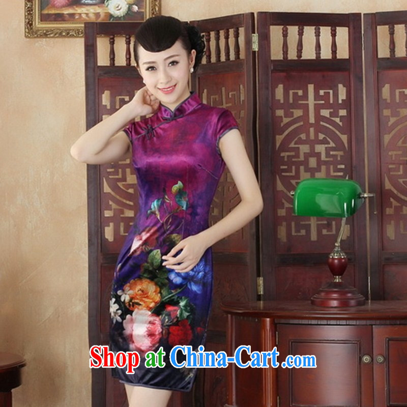 Wholesale everyday dresses 2014 new retro upscale gold velour improved fashion cheongsam beauty Tang is a short paragraph 0002 SRDX XXL