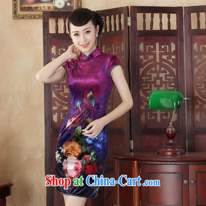 Wholesale everyday dresses 2014 new retro upscale gold velour improved fashion cheongsam beauty Tang is a short paragraph 0002 SRDX XXL