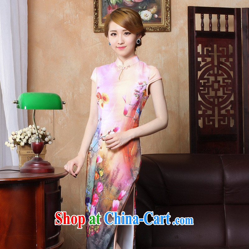 Autumn 2014 New Long cheongsam high on the truck and feel retro large code etiquette stage debut dinner gown CQP XXL 004