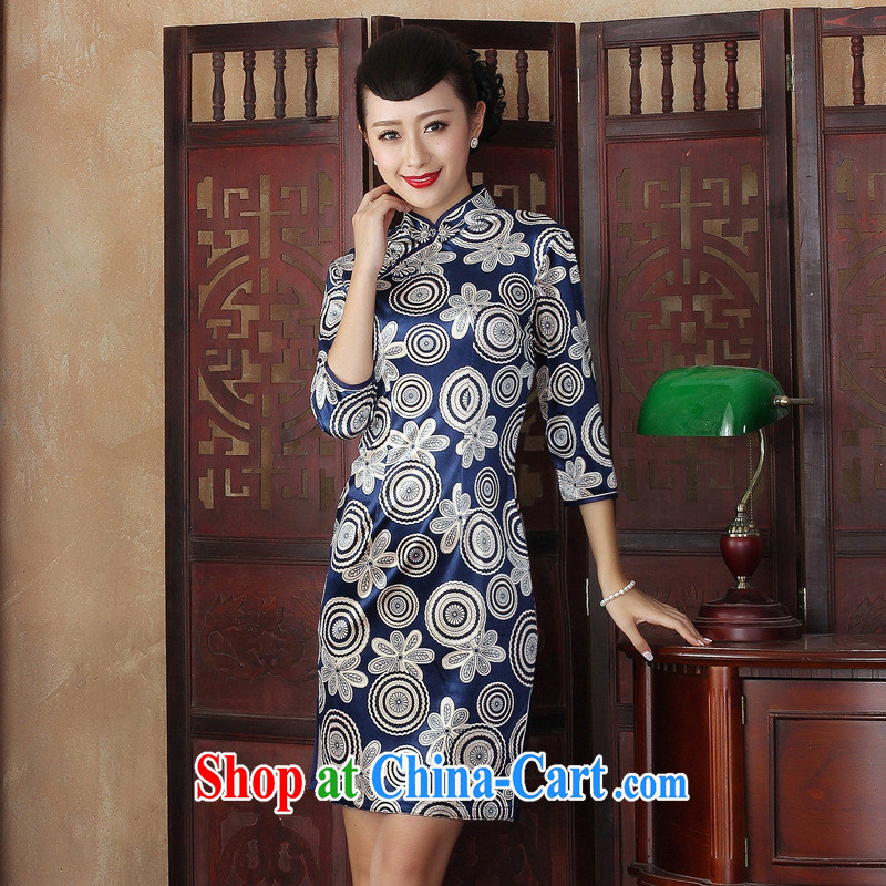 Autumn is stylish and improved cheongsam dress retro Daily Beauty graphics thin elegant gold velour MOM dress qipao ZXQP XXL 0004
