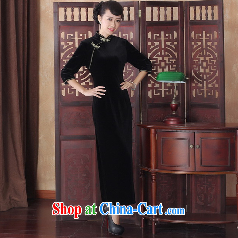 New winter and Autumn and dress sense of the cheongsam dress cuff, elastic Solid Color elegance, long the velvet cheongsam dress SRCQ XXL 003