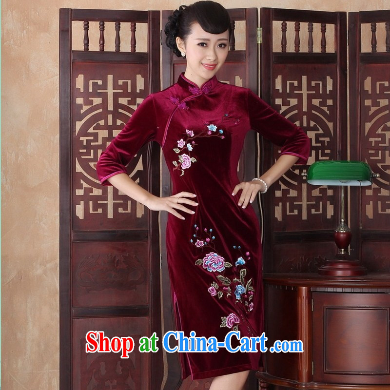 The cheongsam long, long-sleeved in the older XL wedding dresses Mother Superior gold velour cheongsam dress SRZX XXL 0017