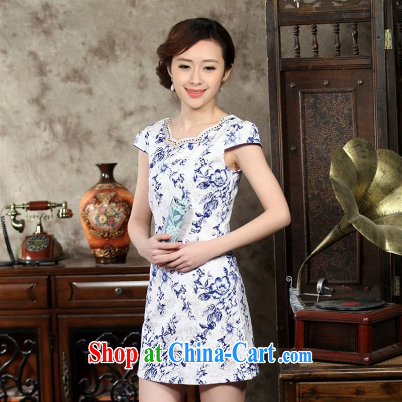Wholesale new, improved day-short, Retro cheongsam dress jacquard cotton stamp elegant beauty is not the Lao THM XL 0008