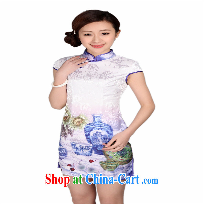 Wholesale new, improved day-short, Retro cheongsam dress jacquard cotton stamp beauty and elegant low-power's white XXL