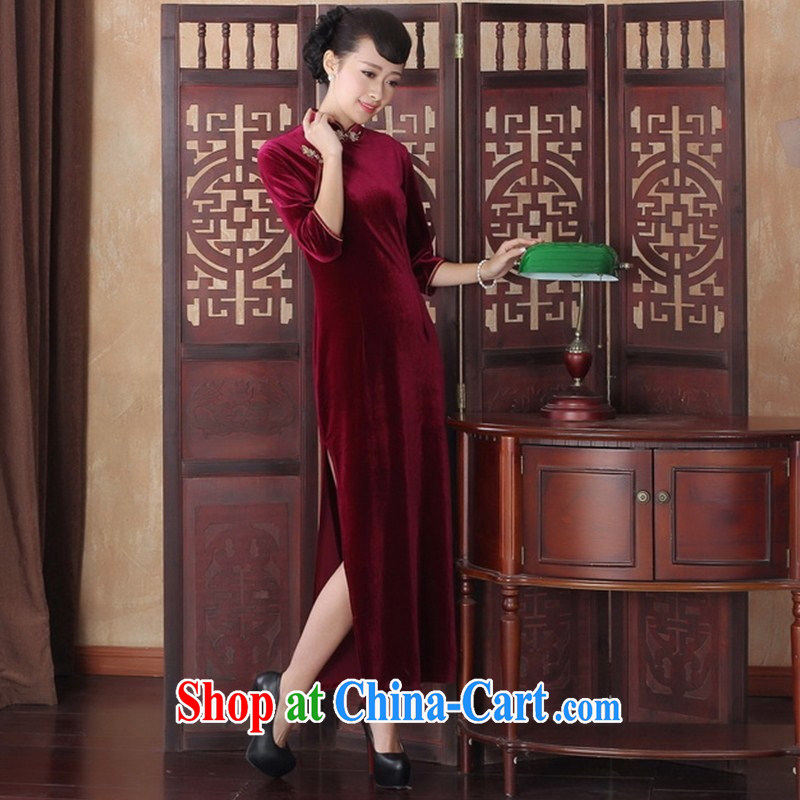 Wholesale counters high quality gold velour long dresses, long-sleeved Chinese Antique banquet, older dresses skirts SRCQ XL 001