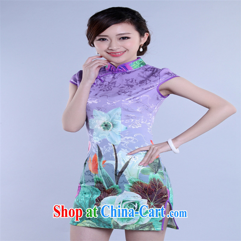 Wholesale new, improved day-short, Retro cheongsam dress jacquard cotton stamp beauty and elegant low-power's THM XXL 0027