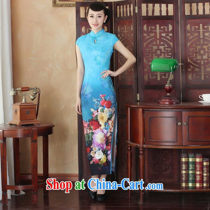 Early Autumn 2014 New Long cheongsam high on the truck and feel retro large, ceremonial stage debut dinner 001 CQP XXL