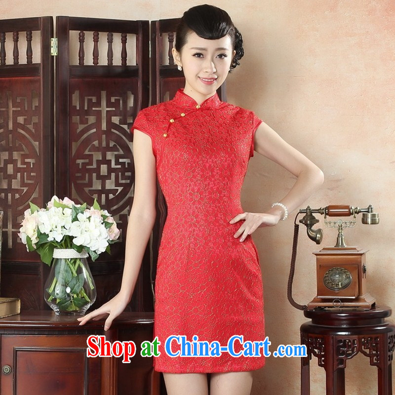 factory has been awarded red bride happy dress beauty simple and elegant lace cheongsam fashionable dresses LS XXL 0012