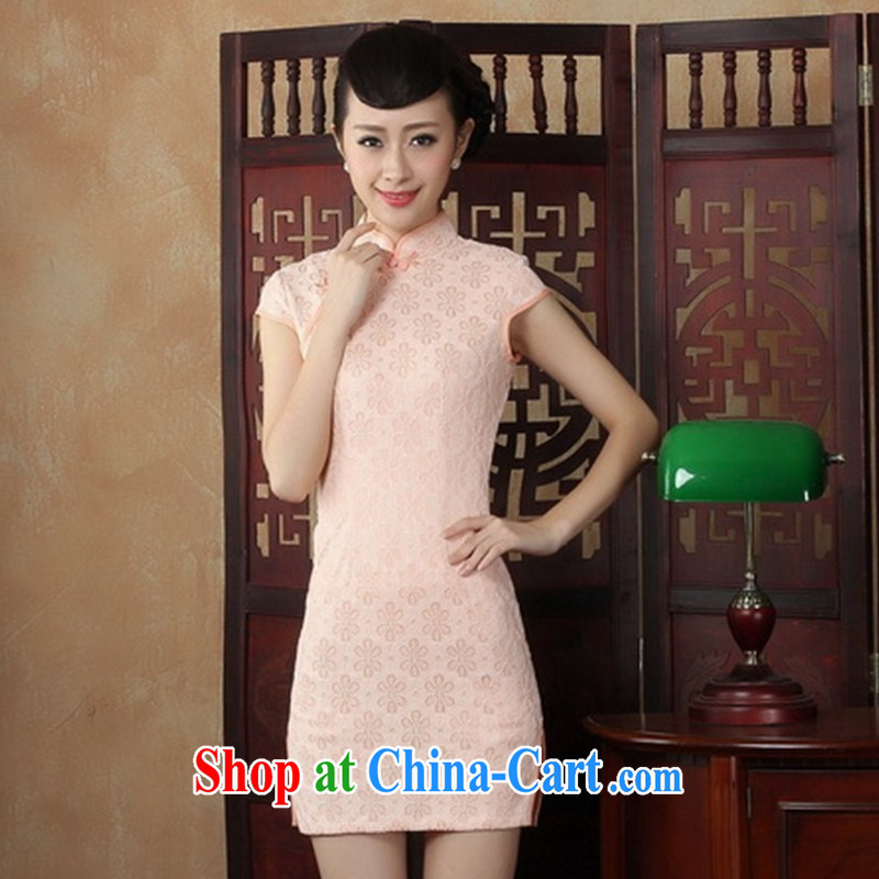 Summer dresses with stylish and improved 2014 new elegant short-day dresses dresses lace transparent robes black XXL