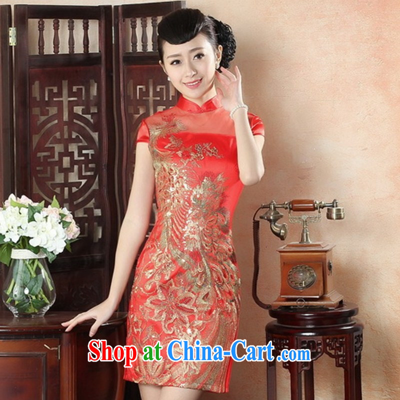 New cheongsam dress stylish and improved daily cheongsam dress elegance retro beauty graphics thin embroidery cheongsam LS XXL 0011