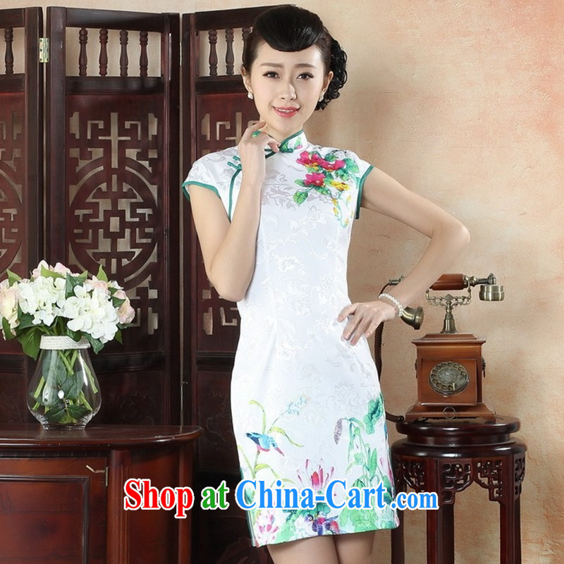 New autumn day summer dress retro improved short-sleeved cheongsam dress elegance beauty graphics thin lady dresses THM XXL 0051