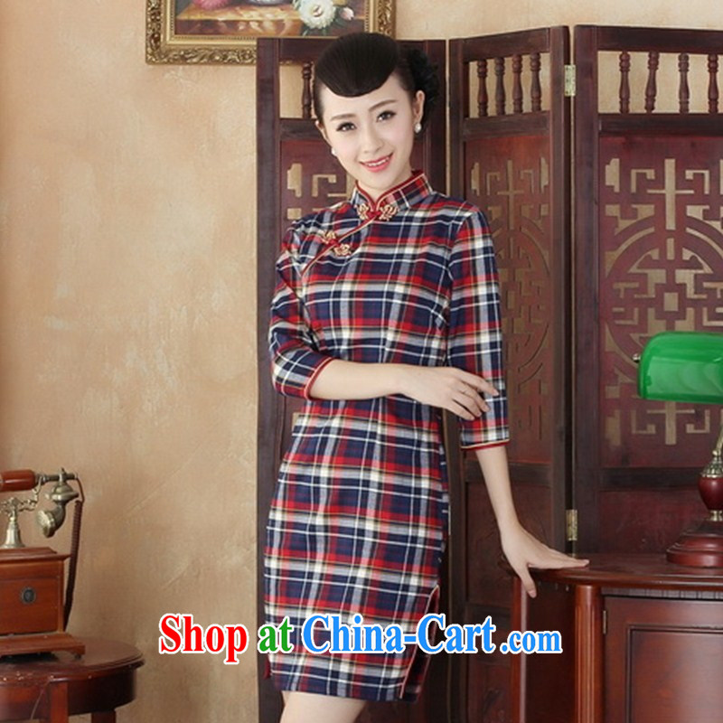 Summer 2014 new girls cotton cheongsam dress tartan aura of Korea retro improved daily in qipao cuff GZZX L 0001