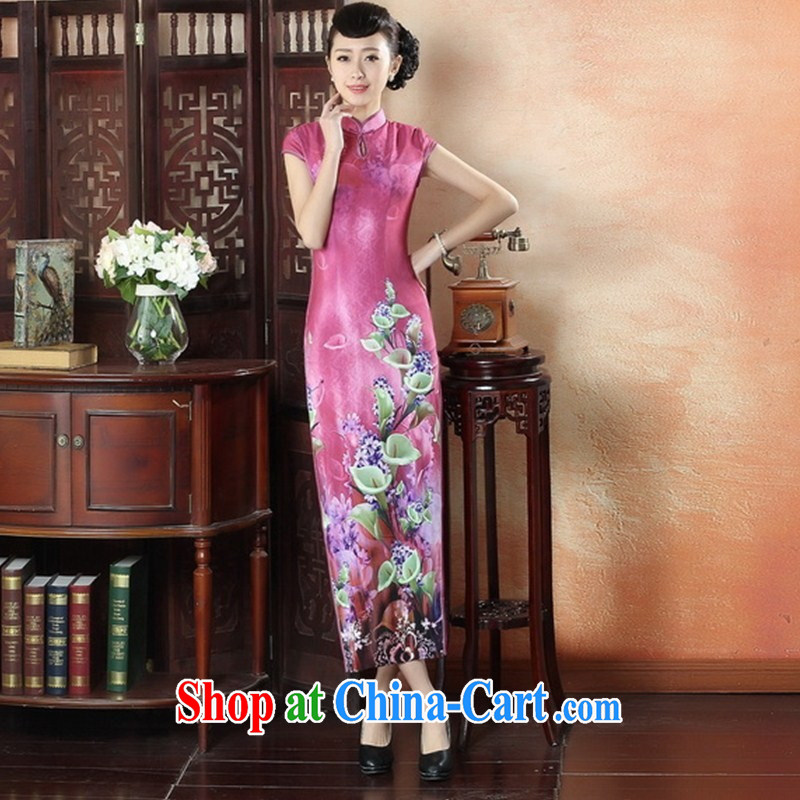 New stylish dresses and elegant sexy beauty graphics thin cheongsam dress retro Show elegance long cheongsam CQP XXL 0008
