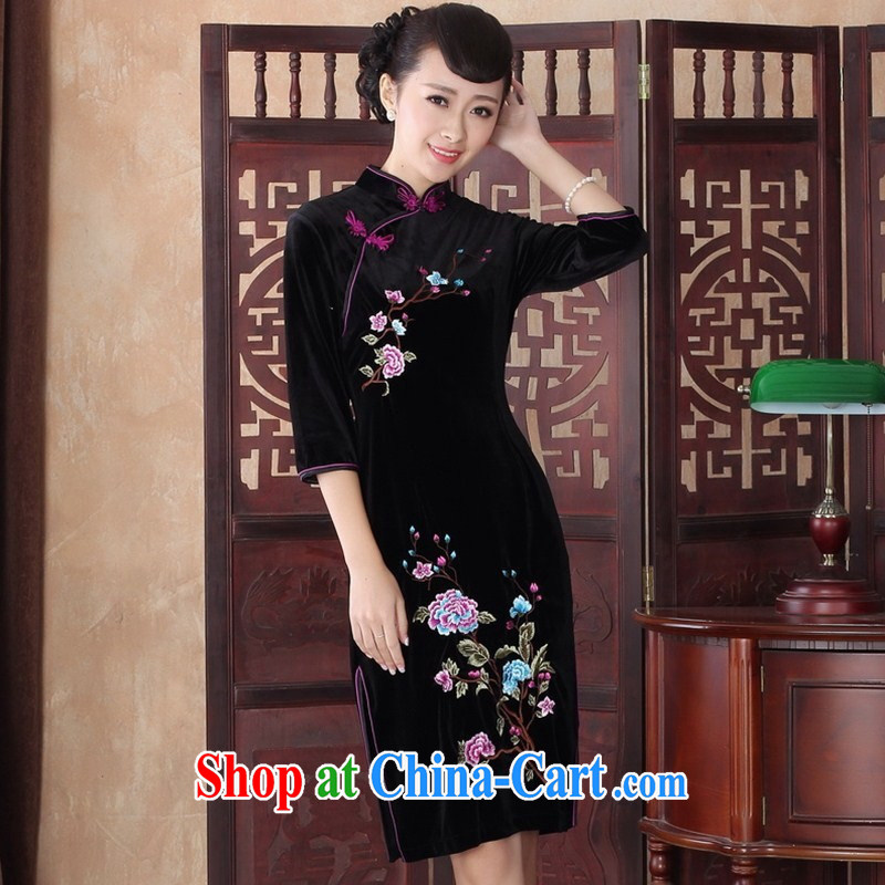 In 2014 cuff cheongsam dress style fall and winter season with improved Stylish retro large code Kim velvet dress MOM 0016 SRZX XXL