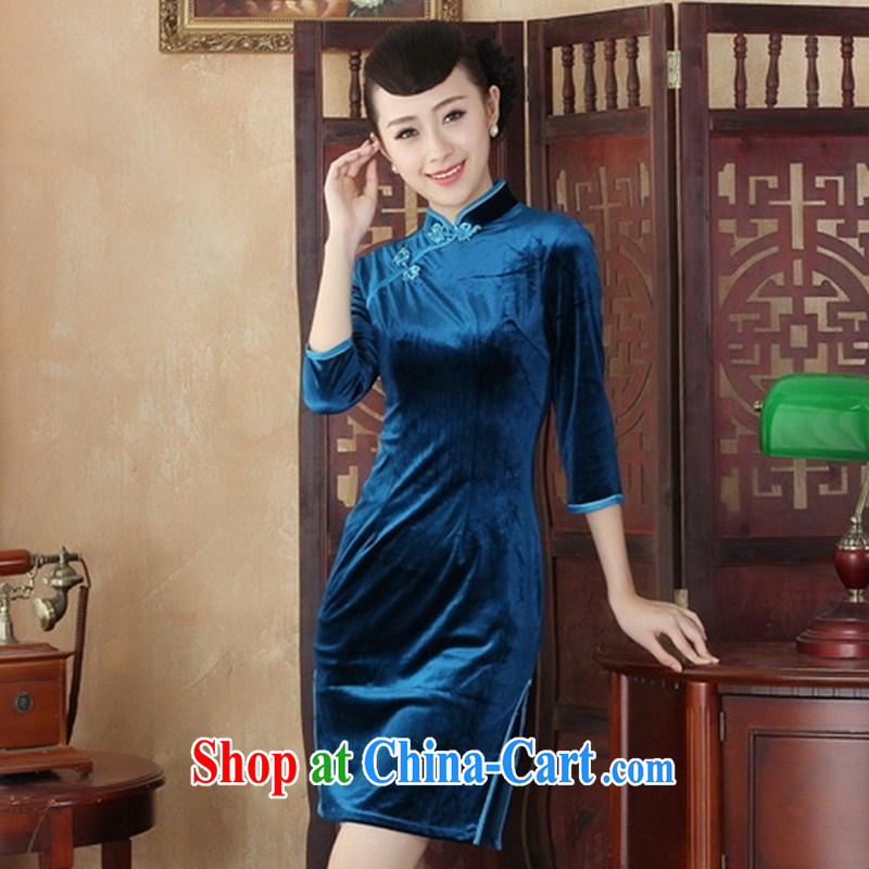 New daily noble lady velvet cheongsam retro improved fashion, long-sleeved spring MOM dresses skirts SRZX XXL 0004