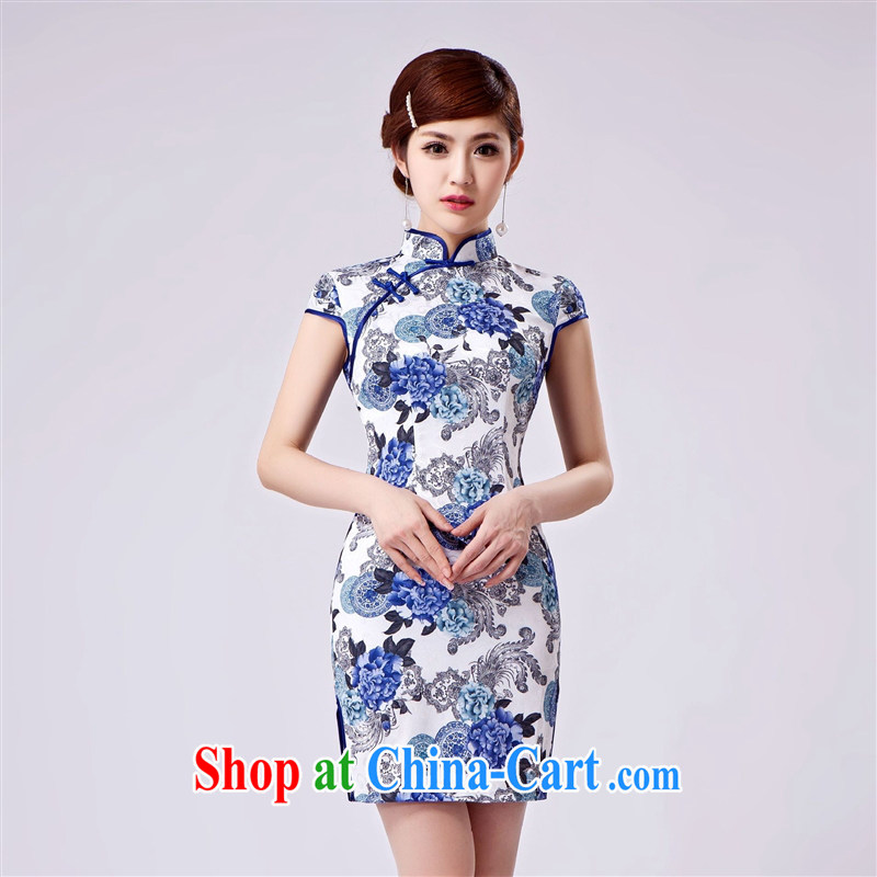 Wholesale new, improved day-short, Retro cheongsam dress jacquard cotton stamp beauty and elegant low-power's THM XXL 0037